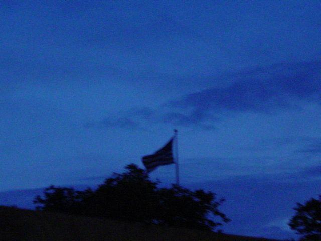 Flag on building