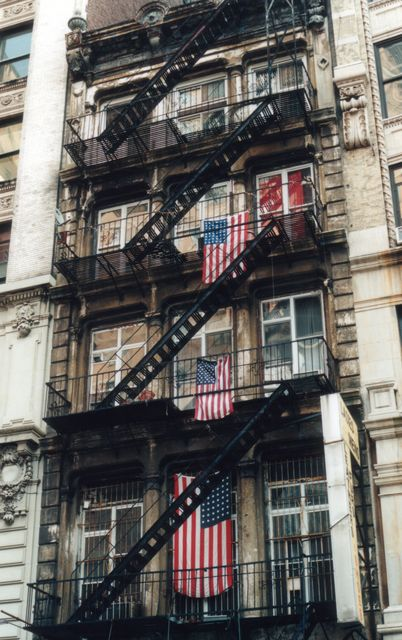 Flags on NYC buildings